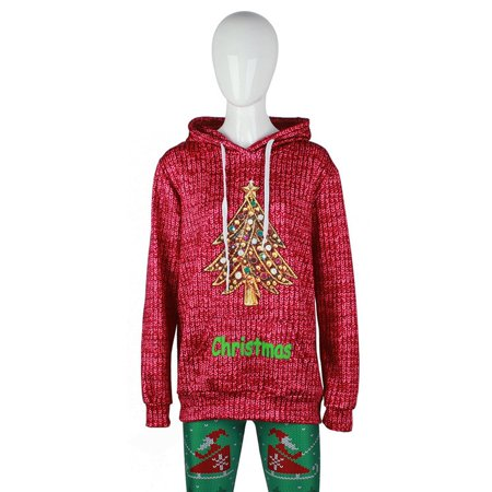 Christmas Sweater Long-sleeved Hooded Pullover Sweaters with ...