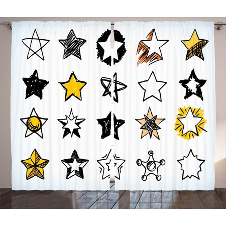 House Decor Curtains 2 Panels Set, Sweet Sixteen Stars Hand Drawn Colorful Art Rock Punk Themed Teen Room Art, Window Drapes for Living Room Bedroom, 108W X 84L Inches, Yellow White, by Ambesonne