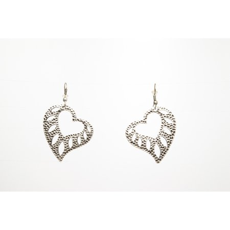 Heart Silver Plated Dangle Earrings with Antique Look