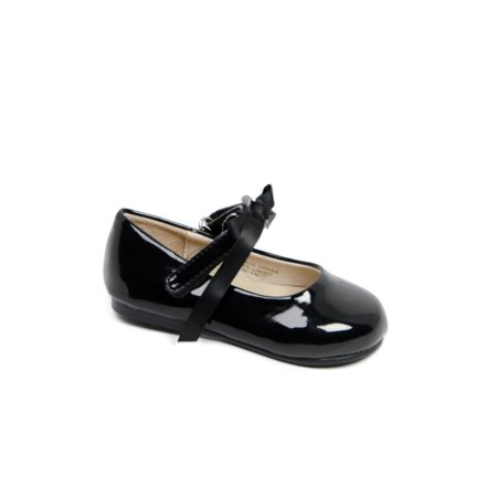 Black Patent Leather Girls Shoes (Pazitos Girls Black Patent Bow Ballerina Mary Jane)