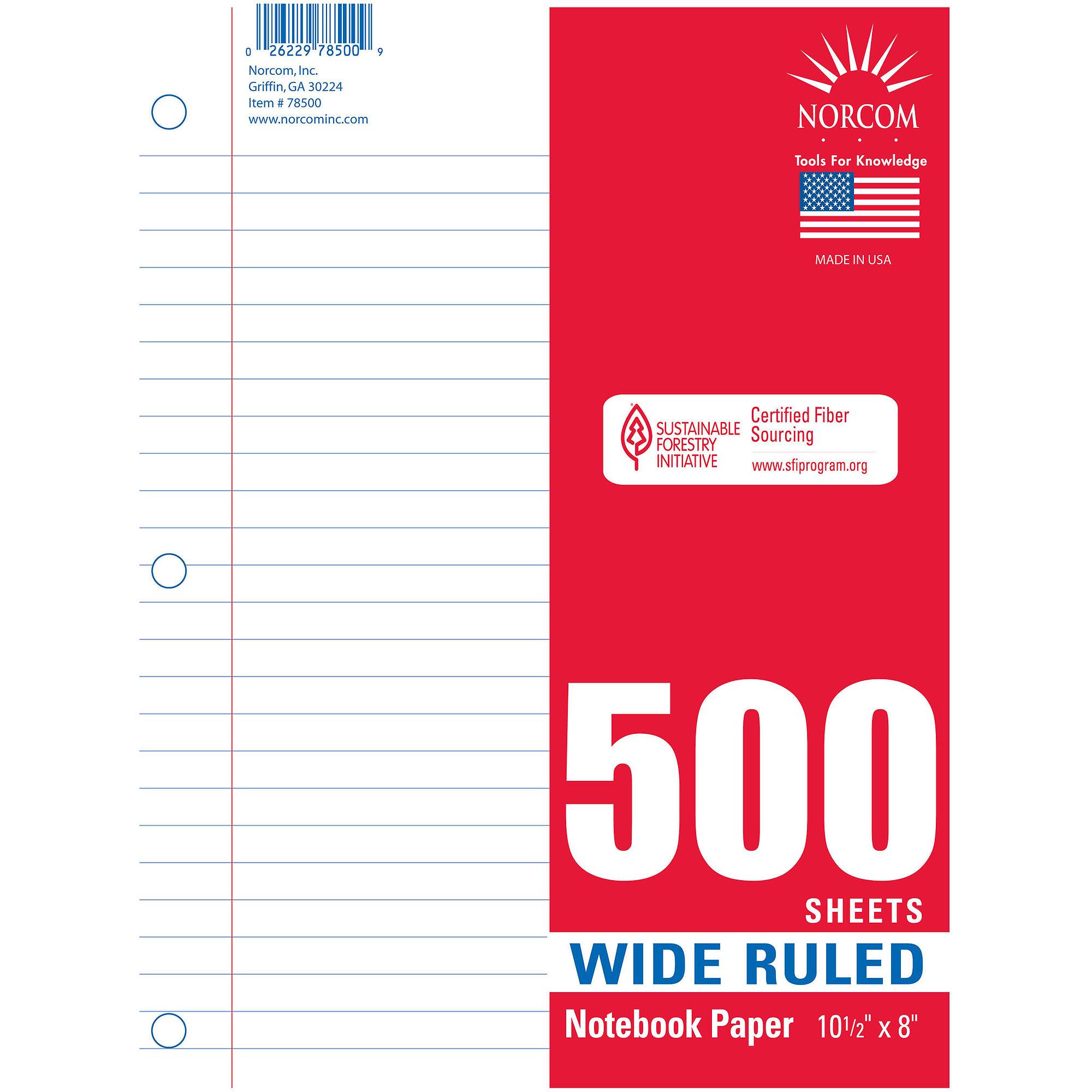 Norcom 500 Sheet Filler Paper, Wide Rule  Loose Leaf Paper Print