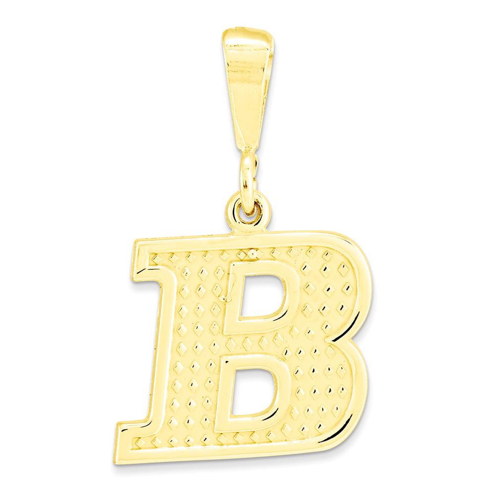 10k Yellow Gold Raised Edge Initial B Pendant