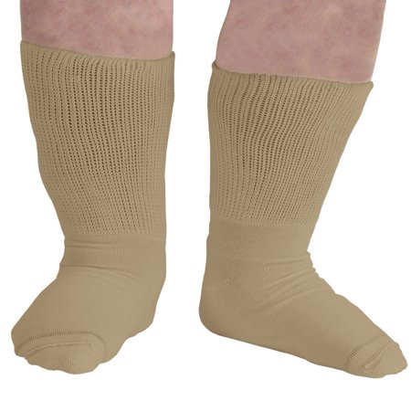 Extra-Wide Medical (Diabetic) Socks for Women (Tan)