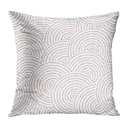 ECCOT Red Line Pattern Made of Dots Inspired by Aboriginal Abstract Australia Black Circle Concentric PillowCase Pillow Cover 18x18