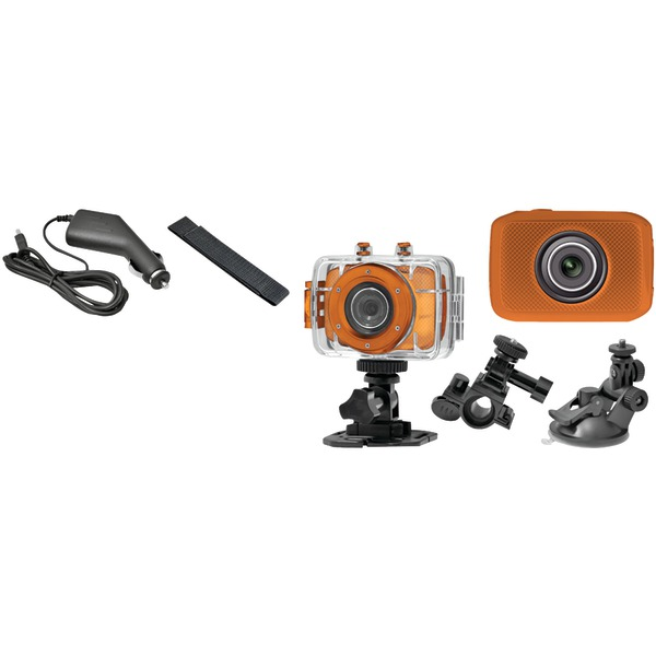Pyle High-Definition Sport Action Camera with 720p Wide-Angle Camcorder, 5.0 MP Camera, 2-Inch Touch Display, Micro SD Card Slot, Waterproof Case and Mounting Gear for Sports (Orange Color)