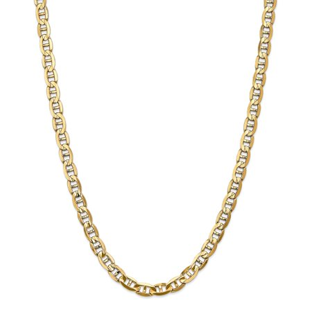 Solid 14k Yellow Gold Big Heavy 7mm Concave Anchor Mariner Chain Necklace 18