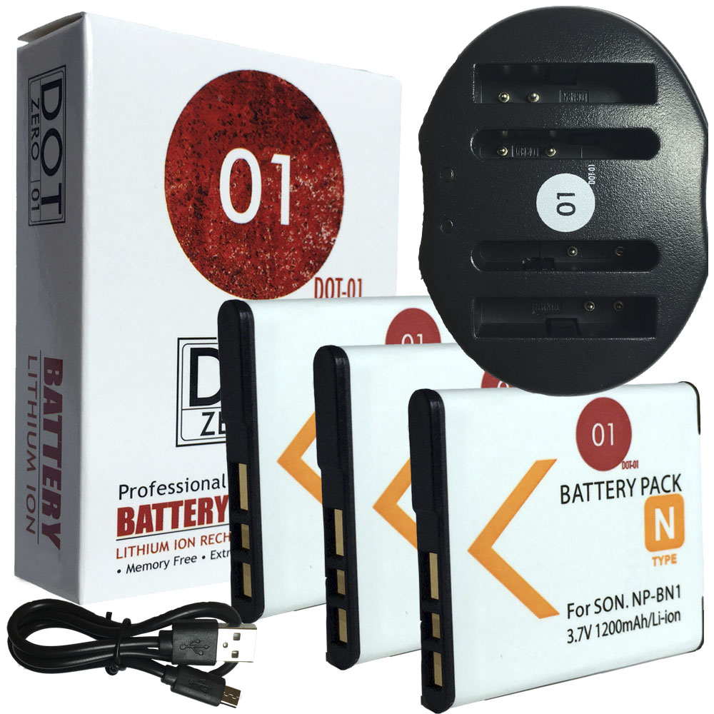 3x DOT-01 Brand 1200 mAh Replacement Sony NP-BN1 Batteries and Dual Slot USB Charger for Sony DSC-TX30 Digital Camera and Sony BN1