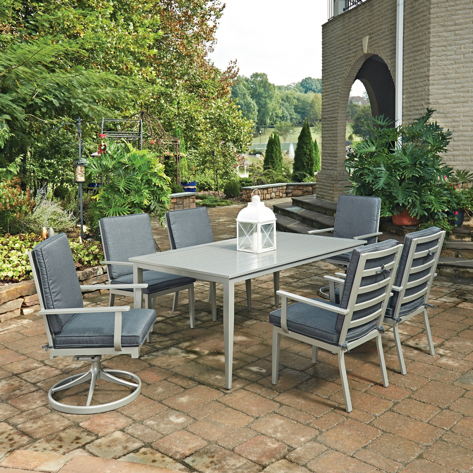 South Beach 7 Pc. Rectangular Outdoor Dining Table with 4 Arm Chairs & 2 Swivel Rocking Chairs