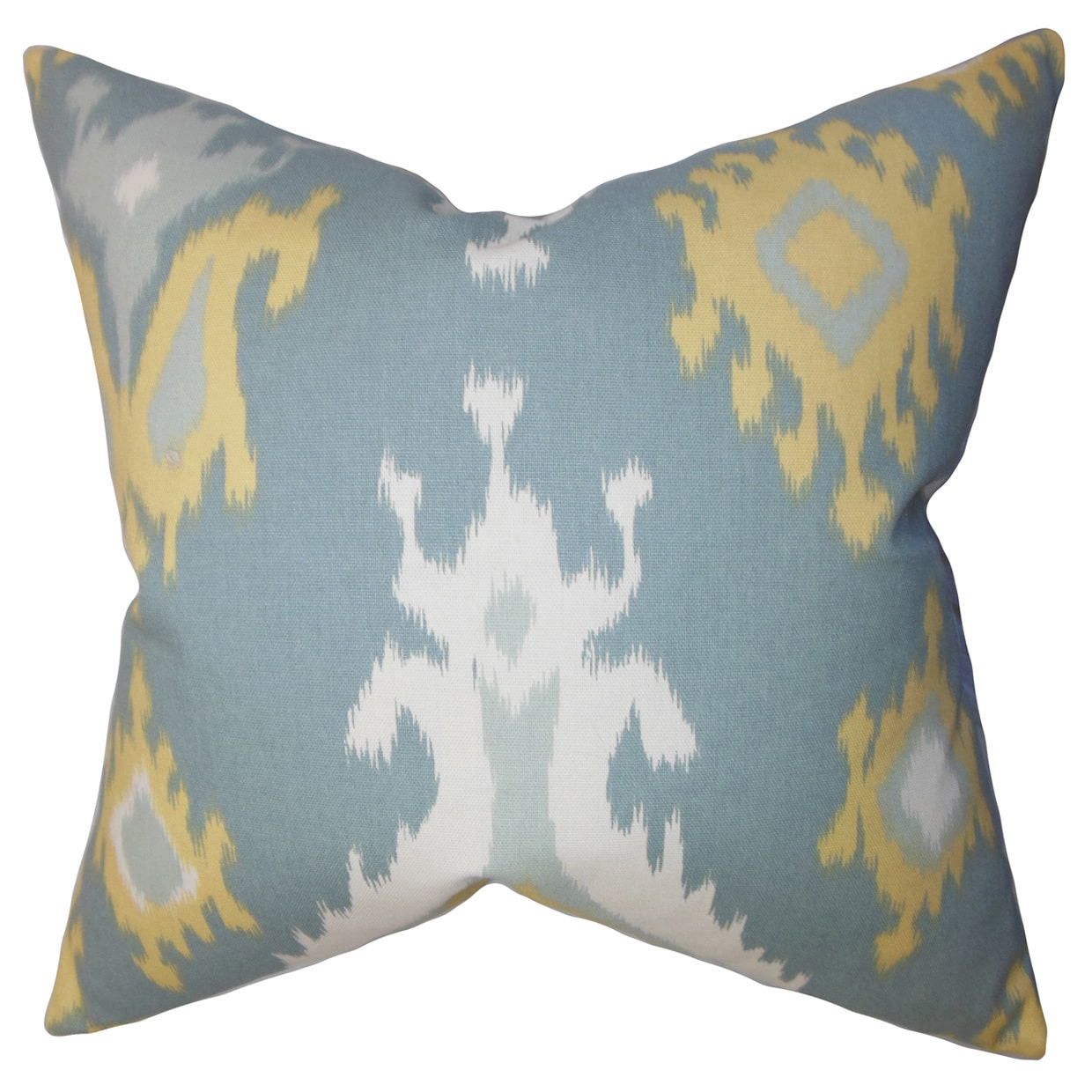The Pillow Collection Djuna Ikat 22-inch Down Feather Throw Pillow Light Blue