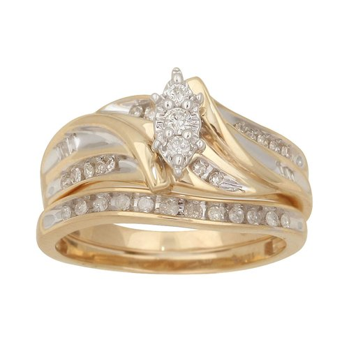 1/3 Carat T.W. Diamond Yellow Gold Bridal Set, Size 7