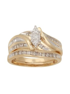 1/3 Carat T.W. Diamond Yellow Gold Bridal Set, Size 7