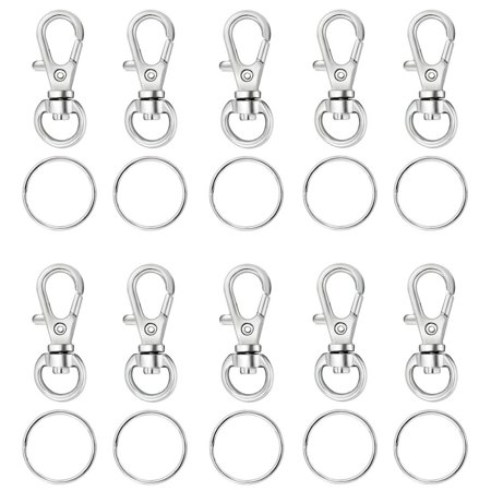 Houseables Key Chain Clip Hook, Keychain Ring, 100 Bulk Pack (50 Rings, 50 Clasps), 1.5