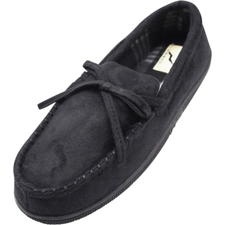 Norty Mens Moccasin Slip On Loafer Slipper Indoor/Outdoor Sole - 3 Colors, 40017 Black /
