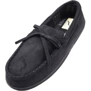 Norty Mens Moccasin Slip On Loafer Slipper Indoor/Outdoor Sole - 3 Colors, 40017 Black / X-Large