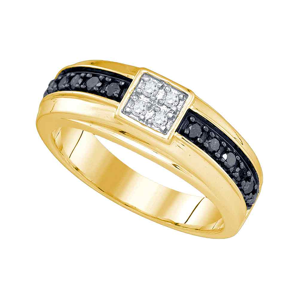 10k Yellow Gold Mens Black Colored Diamond Wedding Anniversary Fashion Band Ring (.50 cttw.) size- 8.5 by