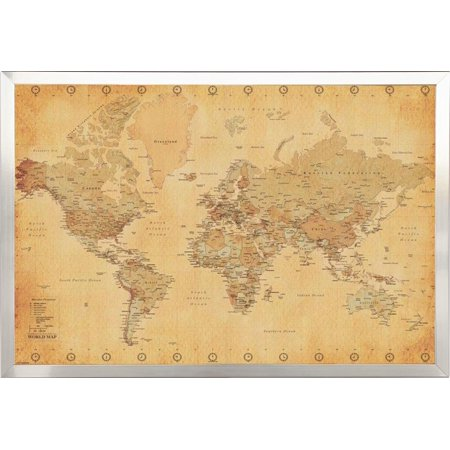 FRAMED Vintage World Map 24x36 in Real Wood Brushed Nickel Finish Crafted  in USA