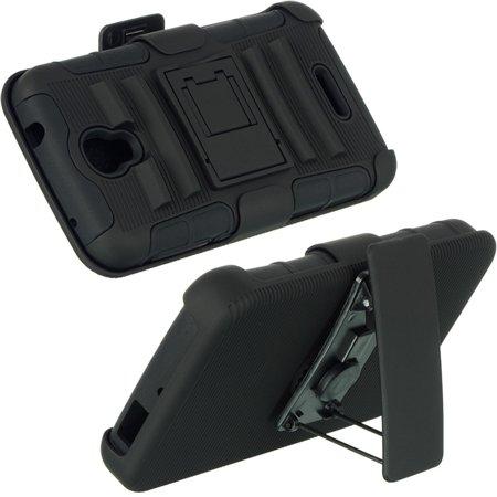 Alcatel HSCALCPOP-HSTD-BKBK One Touch Pop Astro Hybrid Case with Black Skin & Black