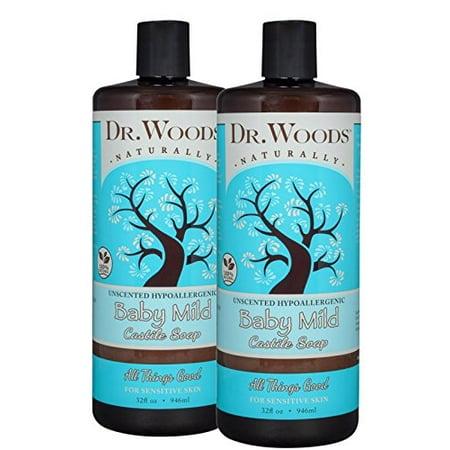 Dr. Woods Natural Unscented Baby Mild Castile Soap 32 oz 2 Pack ()