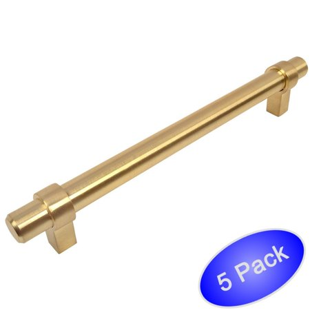 (Cosmas 161-160BB Brushed Brass Contemporary Bar Cabinet Handle Pull - 6-5/16