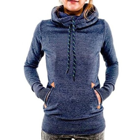 Women's Funnel Neck Pullover Hoodie Pocket Drawstring Hooded Sweatshirt 10 Oz Pullover Hooded Sweatshirt