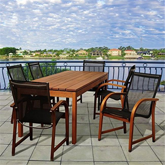 SC ATA-6MANHA Fletcher 7 Piece Eucalyptus Rectangular Patio Dining Set