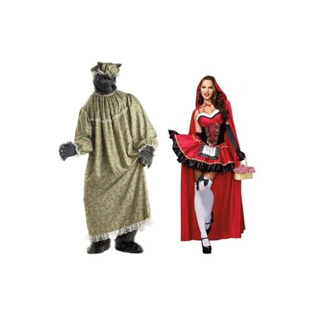 Adult Little Red Riding Hood and Granny Wolf Costume - Little Red Riding Hood And Wolf Costume