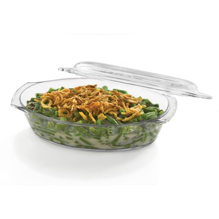 Libbey Baker's Basics Glass Oval Casserole Baking Dish with Cover, (Nest Covered Dish)
