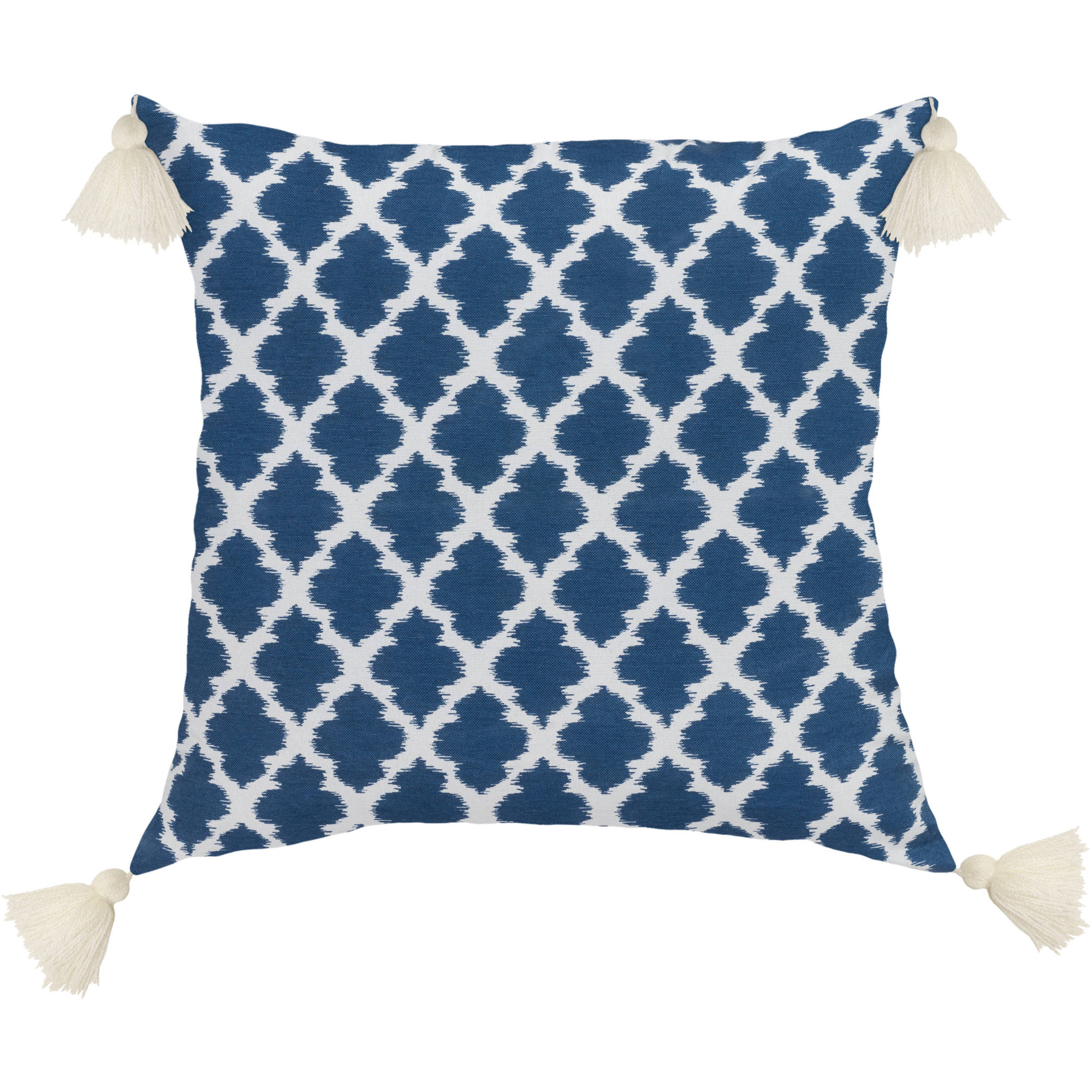 "Better Homes and Gardens Indigo Tangier 18"" x 18"" Poly/Cotton Fabric Printed Geometric Ikat Design Pillow with 4 Contrasting Decorative Tassels"