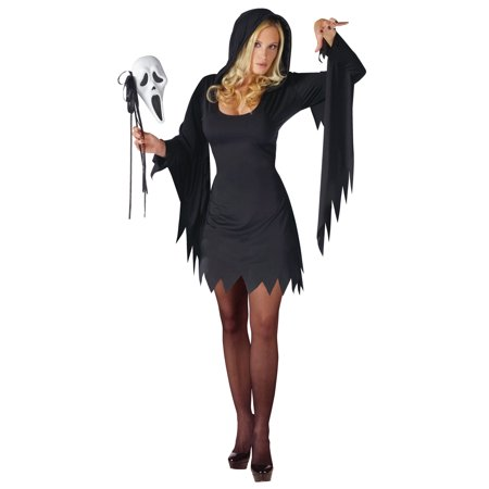 Ghost Face Female Adult Halloween Costume, Plus (16-20) (Halloween Cat Face Makeup Adults)