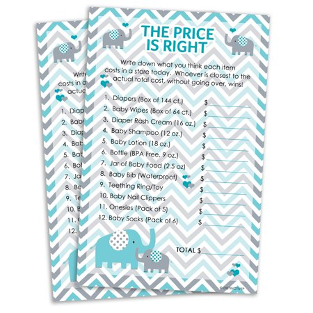 Noahs Ark Baby Shower Tea - Teal Blue and Gray Elephant The Price is Right Baby Shower Game Cards, 20 Count