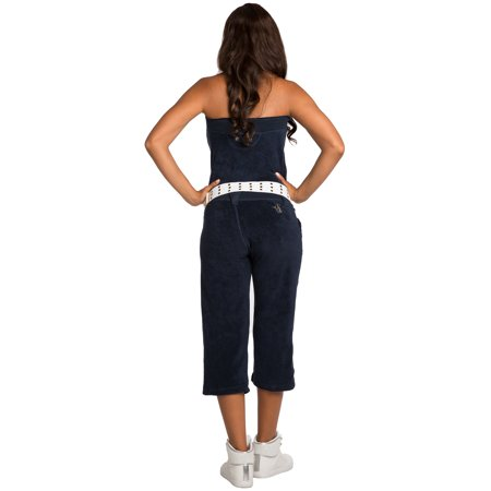 922ac569063 Sweet Vibes Juniors White Stretch Terry Cloth Tube Jumpsuit With Belt -  Walmart.com