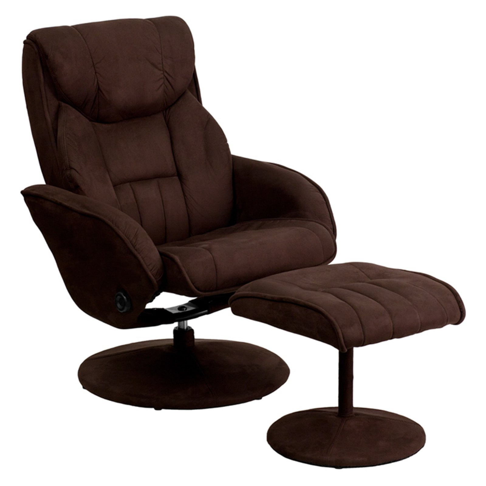 Bon Flash Furniture Microfiber Recliner And Ottoman With Circular  Microfiber Wrapped Base, Brown