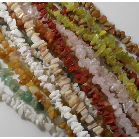 Over 1 Pound Mixed Gemstone Small to Medium Chip Beads Randum Mix 10 Strands 30 Inch or Longer (Small Beads)