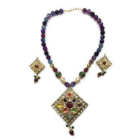 Mogul Indian Statement Jewelry Fashion Indi Meenakari Necklace Earrings Sets