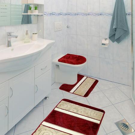 Scroll 3 Piece Bathroom Rug Set Bath Rug Contour Rug Lid Cover