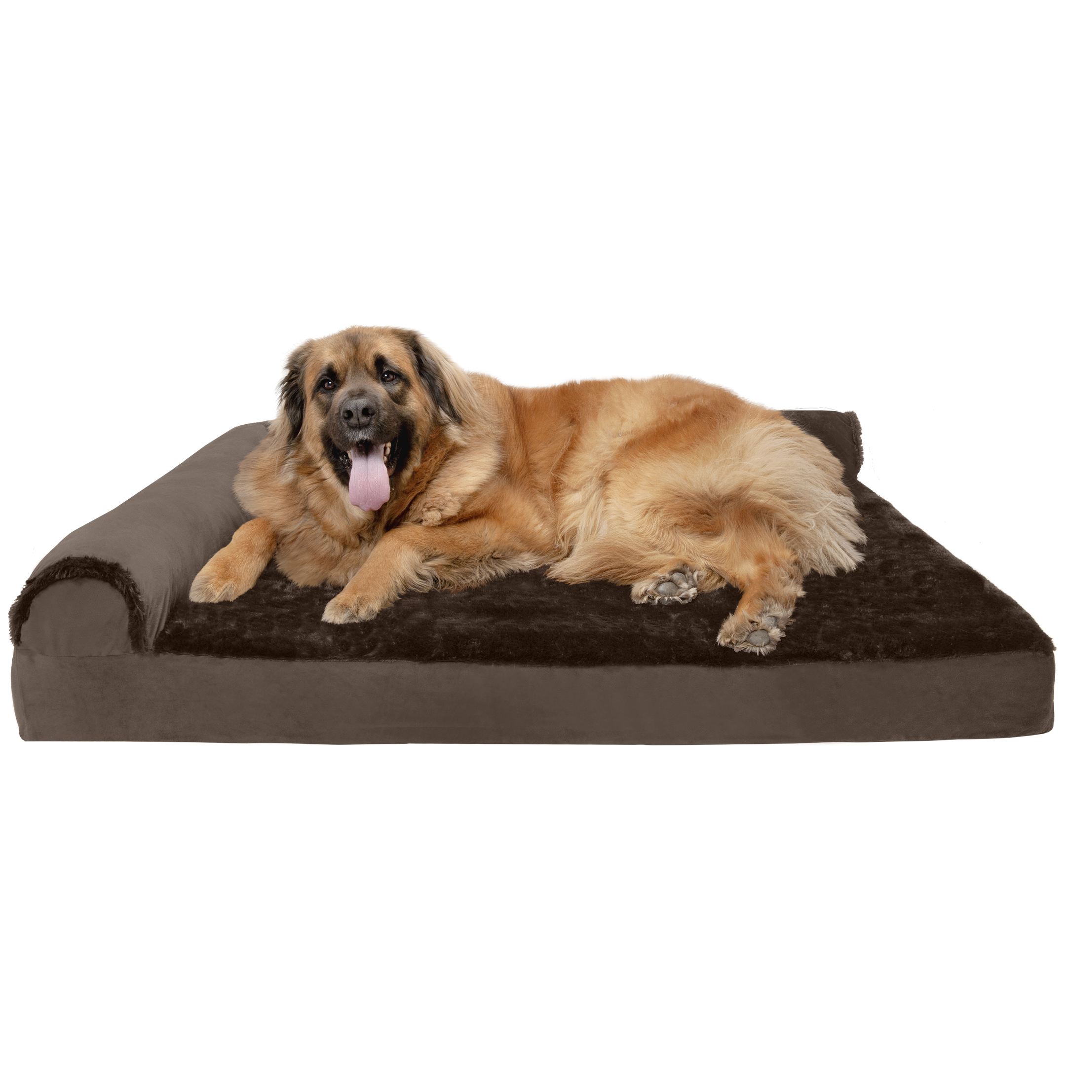 FurHaven Pet Dog Bed | Deluxe Orthopedic Plush & Velvet L-Shaped Chaise Couch Pet Bed for Dogs & Cats, Sable Brown, Jumbo Plus
