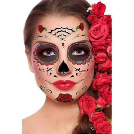 Red Roses Day of the Dead Sugar Skull Temporary Face Tattoo Kit - Pack of 2 - Skull Rose Tattoo