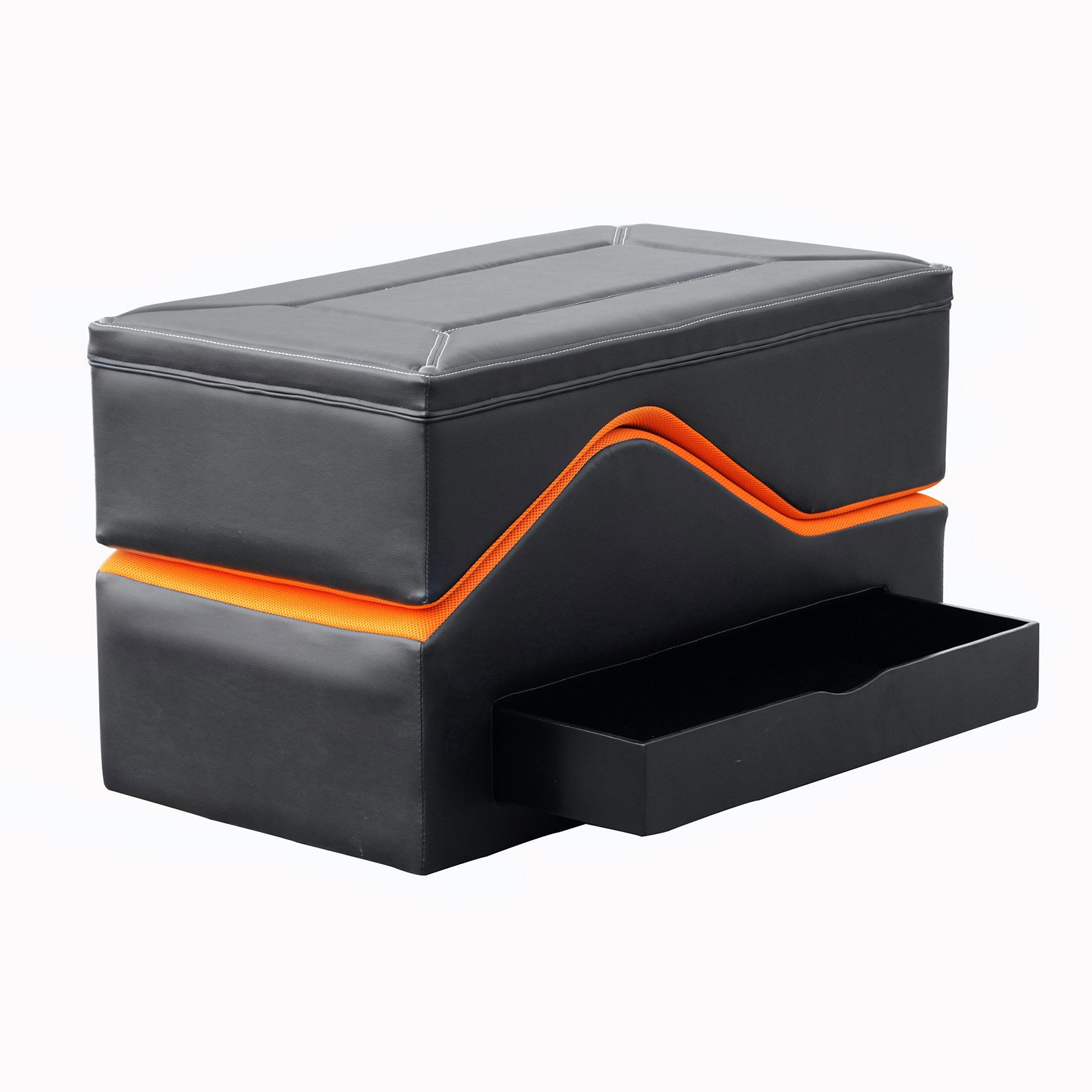 X Video Rocker 2-Piece Modern Lounging Ottoman with Storage, Black/Orange, 0150901