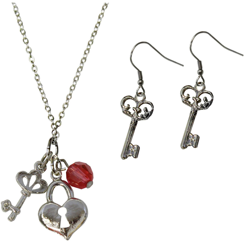 Gloria Duchin Lock and Key Pendant and Earrings Set