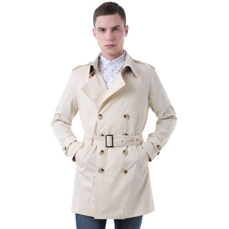 Men Split Lapel Double Breasted Belted Trench Coat ()