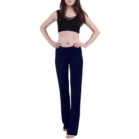 HDE Women's Fold Over Waist Yoga Lounge Pants Flare Leg Workout Leggings (Dark Blue, XX-Large)