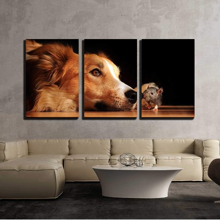 wall26 - 3 Piece Canvas Wall Art - Dog and Mouse are Friends at Home - Modern Home Decor Stretched and Framed Ready to Hang - 16