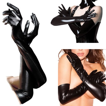 Women Lingerie Wet Look Faux Leather Evening Clubwear Opera Long Gloves Costume Black - Evening Glove : Collection Apparel
