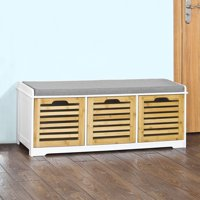 Haotian FSR23-WN,Storage Bench with 3 Crates, Shoe Cabinet Shoe Bench with Soft Seat Cushion