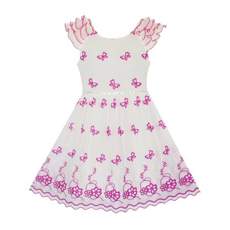 Girls Dress Pink Embroidered Butterfly Dress Princess Pageant 4