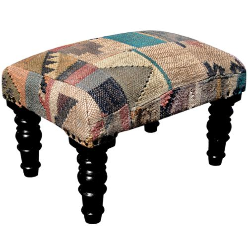 Herat Oriental Handmade Indo Kilim Upholstered Footstool by Overstock