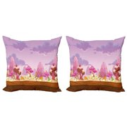 Retro Throw Pillow Cushion Cover Pack of 2, Cartoon Candy Land Cupcakes Ice Cream Chocolate Oranges Mountains Artwork Print, Zippered Double-Side Digital Print, 4 Sizes, Multicolor, by Ambesonne