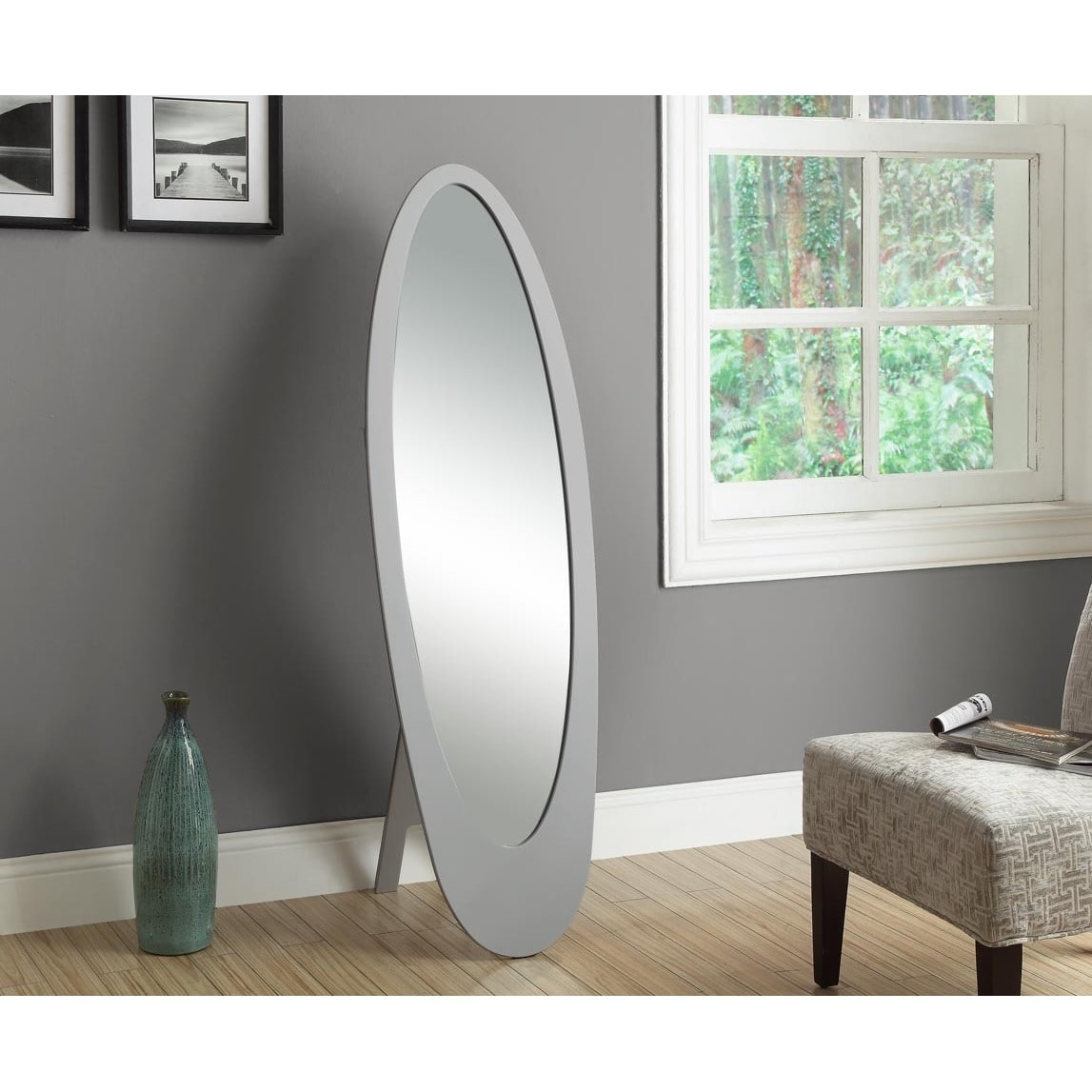 Monarch Specialties Contemporary Oval Cheval Mirror by Overstock