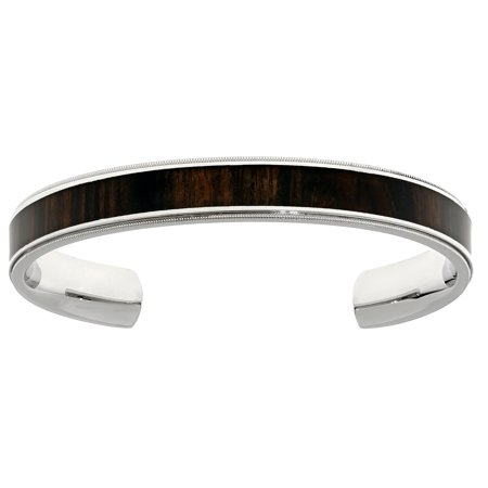 Wood Bangle - Stainless Steel Cuff Bangle Bracelet with Wood Accent