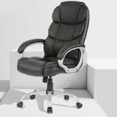 Ergonomic Office Chair Desk Chair Computer Chair with Lumbar Support Arms Headrest Task Rolling Swivel PU Leather High Back Executive Chair for Women Adults, Black ()
